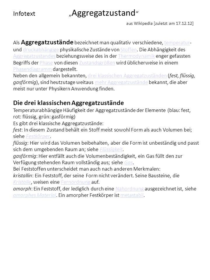 """Infotext """"Aggregatzustand aus Wikipedia [zuletzt am 17.12.12]"""